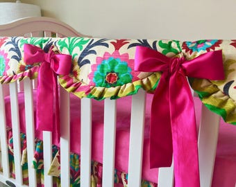 Teething Rail Guard, Hot Pink Rail Cover, Crib Rail Cover, Santa Maria Rail Guard, Bumperless Crib Bedding, Crib Rail Guard for Girls