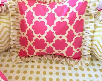 Hot Pink Accent Pillow, Gold Pillow, Polka Dot Pillows, Girl's Pillows, Girl Bedding, Pillows for Girl Bedding