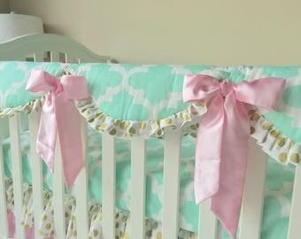 Mint Rail Cover, Crib Rail Cover, Gold Dot Teething Rail Guard, Pink Crib Rail Guard, Bumperless Crib Bedding, Crib Rail Guard for Girls