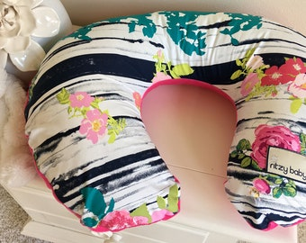 Pink and Navy Floral Nursing Pillow Cover, Pink Floral Boppy Cover, Navy Boppy Cover, Baby Girl Nursing Pillow Cover, Hot Pink Boppy Cover