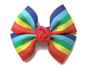 Rainbow Pinwheel Bow, Girl's Rainbow Hair Bow, Hair Bows For Girls, Spring Hair Bows, Bows For Toddlers, Bows For School, Summer Bows