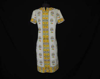Mr. Dino op-art shift dress 60s bright mod psychedelic graphic daisy flower print frock large