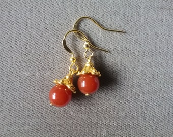 Carnelian Natural Gemstones Earrings Dainty