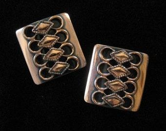 Mid Century Modern Copper Earrings with Geometric Pattern