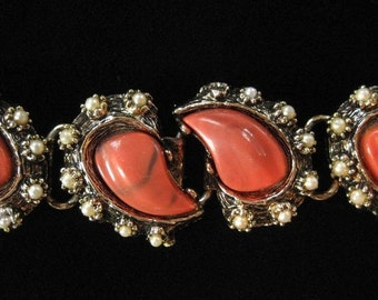 Coral Pink Lucite Victorian Revival Book Chain Bracelet