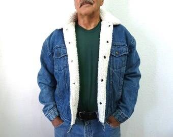 Vintage BJ-R Denim Sherpa Trucker Jean Jacket Storm Rider Levis blue Mens winter jacket M/L