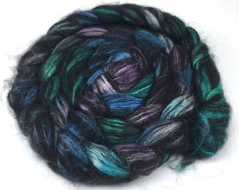 Spinning Fiber - Alpaca & Tussah Silk Combed Top - Black Jewels roving