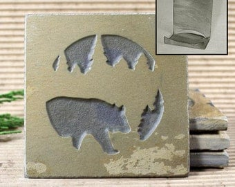 Etched Natural Stone Coaster Set with Holder - Bear in Pine trees on Buff Slate
