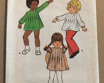 Vintage Butterick 6968 Children Sewing Pattern Size 1 ©1970's