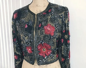 Vintage Laurence Kazar New York Beaded and Sequin Cropped Cardigan Size M-L