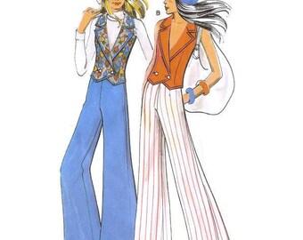 1970s Womens Flares and Waistcoat Top Pattern Burda 62044 S B34 - B35