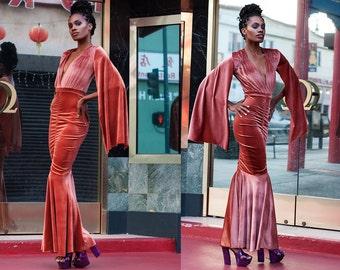 Salmon Velvet Dramatic Mermaid Ruched Gown XS S M L XL XXL
