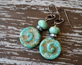 Turquoise Earrings - Boho Earrings - Shell Earrings - Rustic Turquoise Earrings - Bead Soup Jewelry - Beach - Nautical Jewelry - Primitive