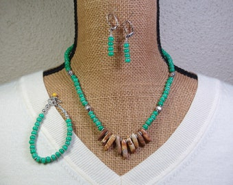 Green  Agate and Picture Jasper Necklace   Bracelet   Earrings .925 Silver