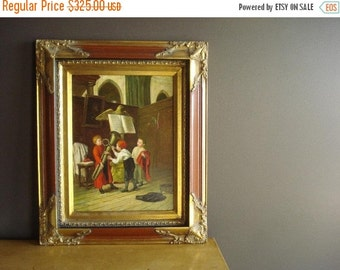 30% off SALE Fooling Around - Vintage Framed Oil Painting -W. Berger - Choirboys in Church with Instruments