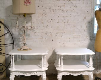 Painted Cottage Chic Shabby Pair of End Tables ENT145