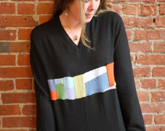 black unisex sweater-merino wool with cashmere patchwork-loose fit pullover sweater-rainbow stripe-colorful-black sweater-size m/l