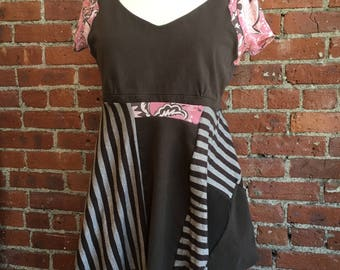Brown and Pink- floral and stripes- peplum bottom asymmetrical hem- upcycled women's clothing- empire waist- cap sleeves- patchwork- med lg