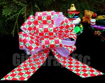 6 Red White Green Checker Christmas Gift Pull Bows