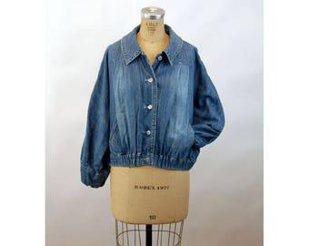 1980s jean jacket denim jacket blouse Jeanology slouchy batwing bomber jacket Size L/XL