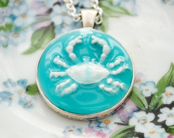 Artisan Crab Relief Pendant - Nautical, Beach Jewelry, Beach Necklace, Crab Necklace, Ocean, Turquoise, Clay Pendant, Faux Porcelain