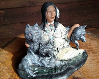Ceramic Native American Woman with Wolves
