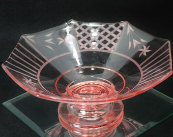 Vintage Pink Depression Glass Octagon Dish