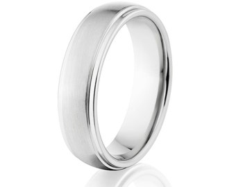 Cobalt Wedding Rings, Cobalt Chrome Wedding Bands, Made here in the USA: COB-6HRRC-B