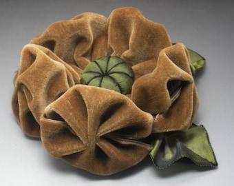Large Light Brown Velvet Puffy Flower Applique