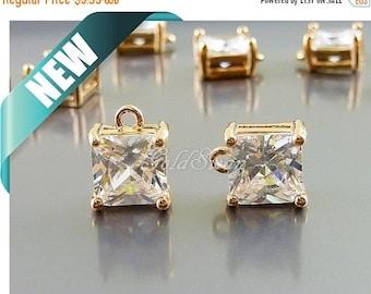 15% SALE 2 pcs 8mm square CZ charms, Cubic Zirconia square pendant, wedding / bridal / ...