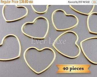 15% SALE Lot of 40 pieces, matte gold heart pendants, 21mm open heart charms 950-MG-21-bulk (40 pieces)