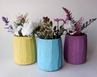 Trio of Vases / Instant collection / colorful Home Decor /  set of 3 / yellow, blue, and purple vases
