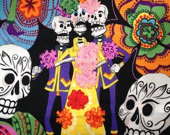 """Alexander Henry 2007- """"los novos""""- Day of the Dead Fabric - Half Yard"""