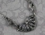 Vintage Sterling Silver Filigree Marcasite Necklace