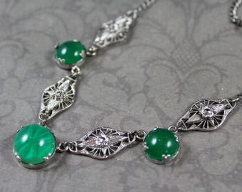 Vintage 1920s to 1930s Silver Filigree Marcasite Art Deco Green Glass Necklace