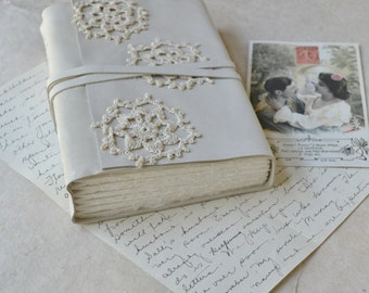 White Leather and Lace Journal with Watercolor Paper