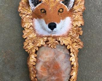 Polymer Clay Animal Totem Art Jewelry - Fox Oak Leaf Forest Spirit Necklace