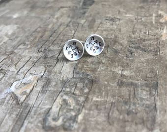 Kansas City earrings KCMO Silver Stud Earrings Sterling SIlver Forged Textured Stud Earrings Sterling Earrings Sterling SIlver Earrings
