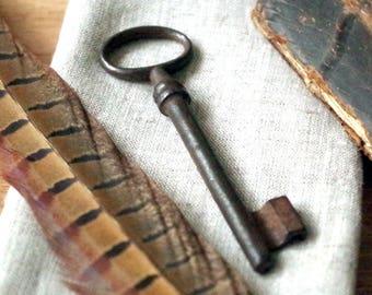 Old Solid Brass Skeleton Key - Vintage Skeleton Gate Key