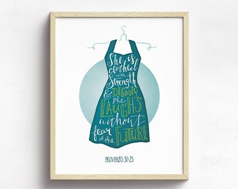 Proverbs 31, She is clothed with Strength and dignity, She Laughs without Fear of the future, Bible Verse Wall Art, Hand lettered Scripture