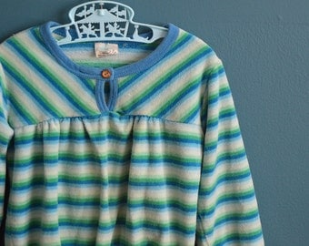 Vintage 1980s Girl's Blue and Green Striped Velour Shirt - Size 5 or 6