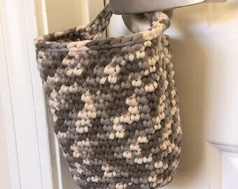 Hanging Basket, Doorknob Basket, Crochet Basket in Grey Clay