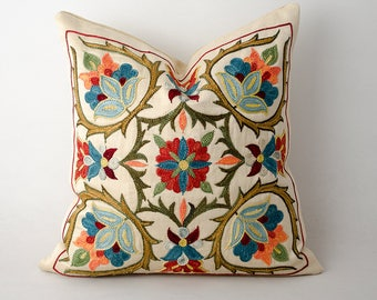 12x12 Gorgeous fully handmade silk embroidery suzani pillow cover, suzani, boho chick, bohemian, ethnic pillow, cover, cushion case, Uzbek