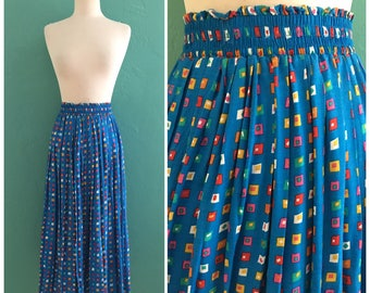 80's blue pleated print skirt // geometric shapes midi skirt ~ small medium