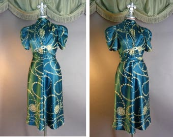 30s dress late 1930s vintage TEAL SILK PRINT floral garland flowers blue Foga Fashion Originators Guild cocktail dress and pin