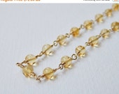 CLEARANCE SALE Citrine Necklace - Gold Filled Beadwork Necklace Rosary Chain Beaded Necklace Rosary Necklace