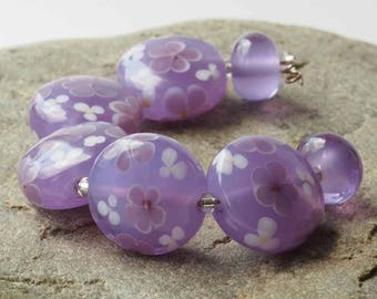 Lilac Floral Lampwork Beads, Set of Handmade Glass Flower Beads