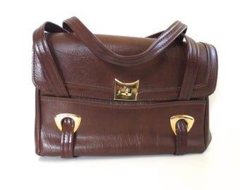 Vintage Retro Brown Tote Handbag