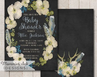 Chalk Spring Baby Shower Invitation, Boho Chic Floral Feathers Wreath Invite, Watercolor Wreath Invitation, Watercolor Poppy Invitati