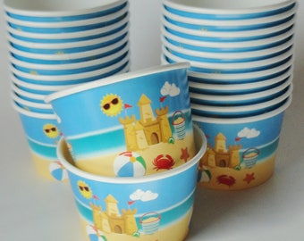 1 Set of BEACH Party Cups Snack Cups Ice Cream Cups Dessert Bowls - Baby Shower, Summer Birthday Party, Sandcastle, Crab, Kids Picnic Fun